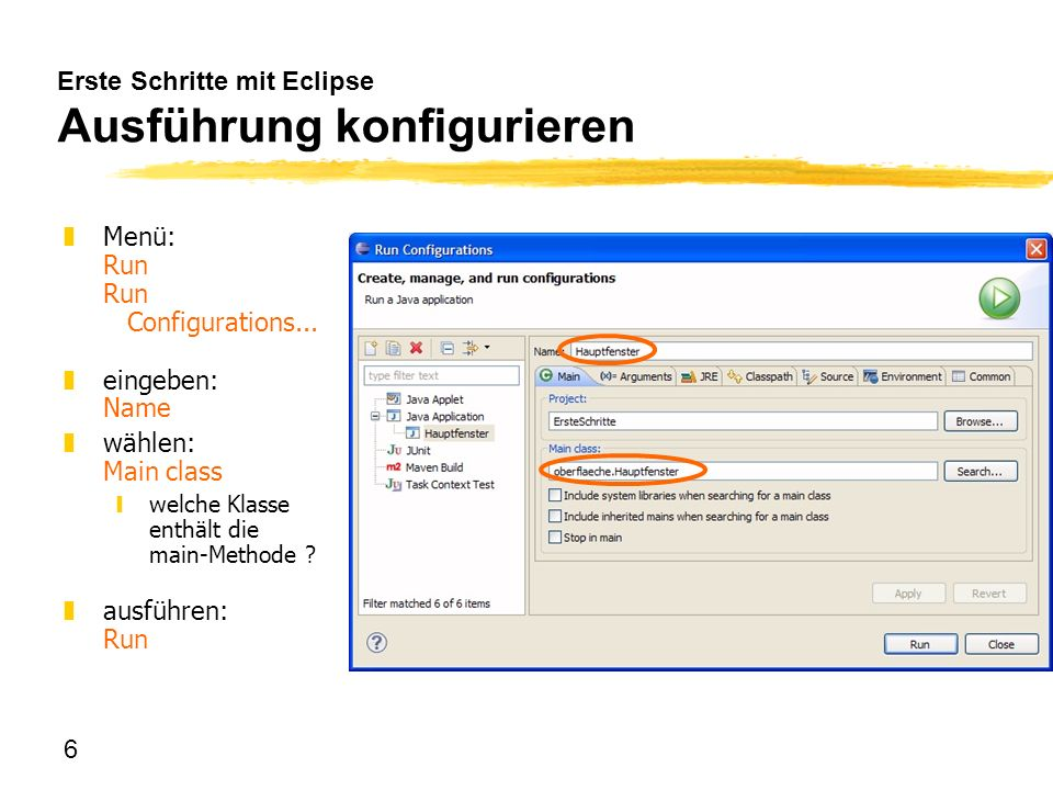 Erste Schritte mit Eclipse Ausführung konfigurieren