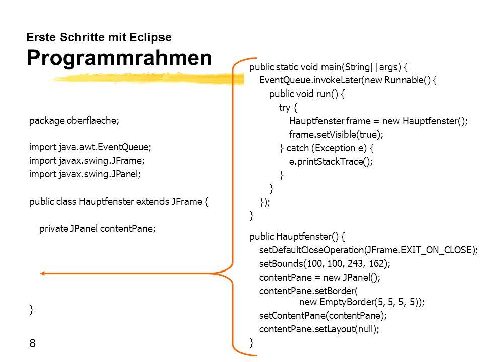 Erste Schritte mit Eclipse Programmrahmen