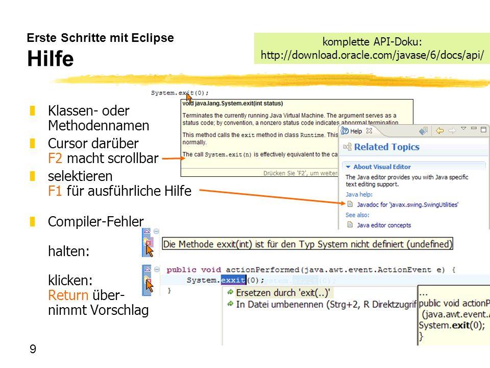 Erste Schritte mit Eclipse Hilfe