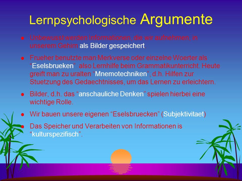 Lernpsychologische Argumente