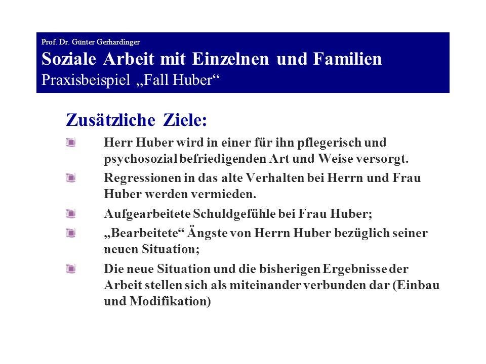 """Prof. Dr. Günter Gerhardinger Soziale Arbeit mit Einzelnen und Familien Praxisbeispiel """"Fall Huber"""