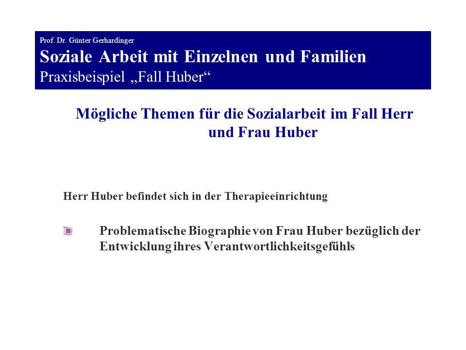 Mögliche Themen für die Sozialarbeit im Fall Herr und Frau Huber