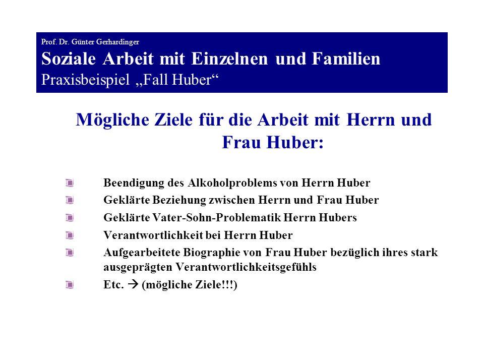 Mögliche Ziele für die Arbeit mit Herrn und Frau Huber: