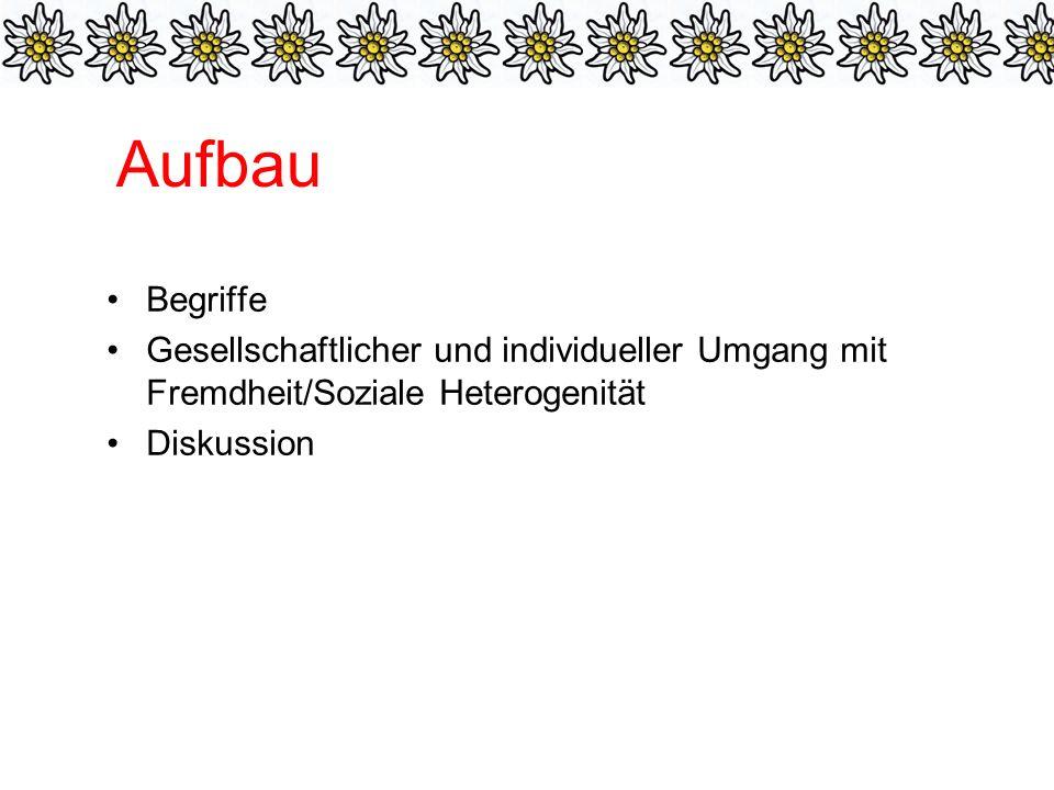 Aufbau Begriffe. Gesellschaftlicher und individueller Umgang mit Fremdheit/Soziale Heterogenität.
