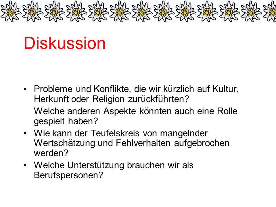 Diskussion Probleme und Konflikte, die wir kürzlich auf Kultur, Herkunft oder Religion zurückführten