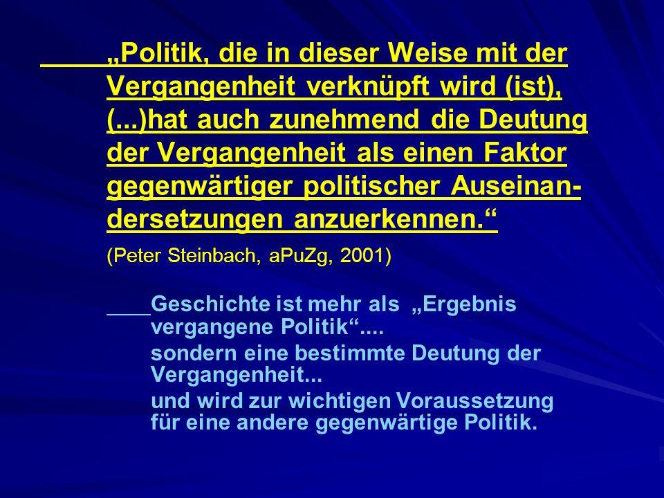 """Geschichte ist mehr als """"Ergebnis vergangene Politik ...."""