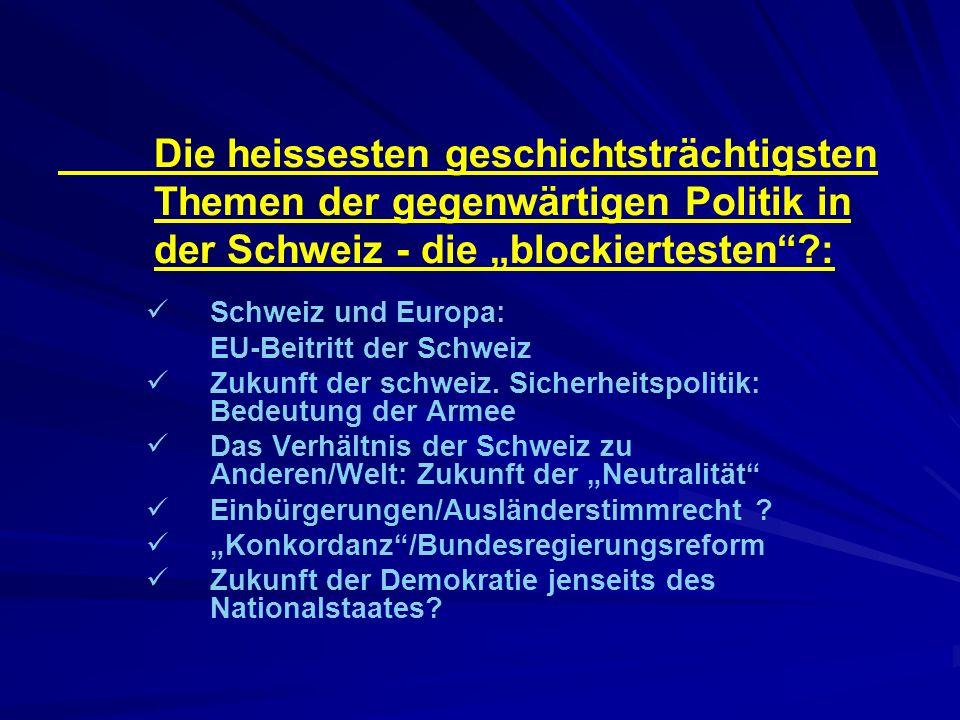 """Die heissesten geschichtsträchtigsten Themen der gegenwärtigen Politik in der Schweiz - die """"blockiertesten :"""