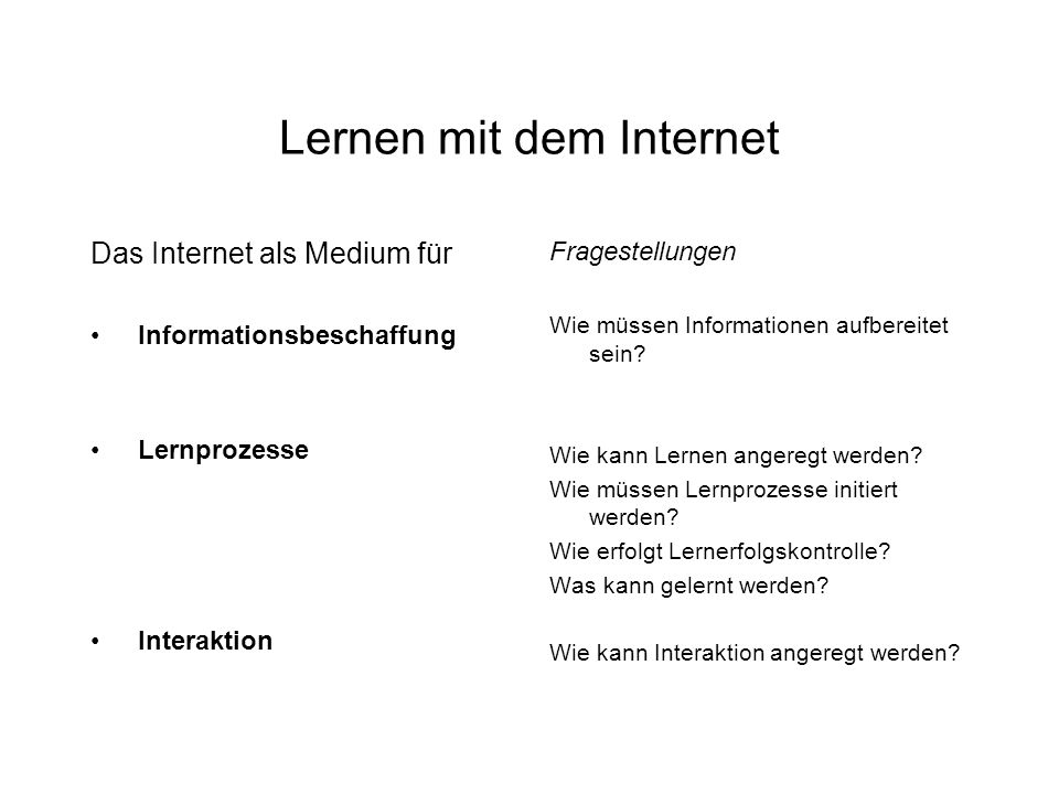 Lernen mit dem Internet