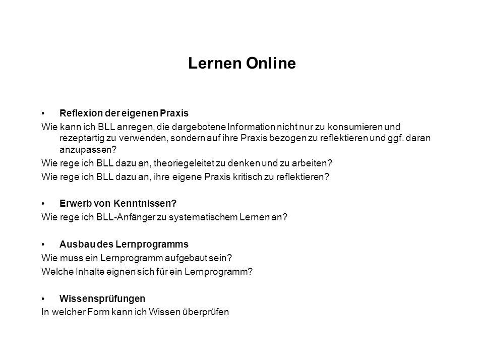 Lernen Online Reflexion der eigenen Praxis