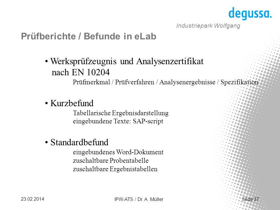 Prüfberichte / Befunde in eLab