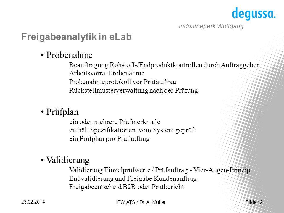 Freigabeanalytik in eLab