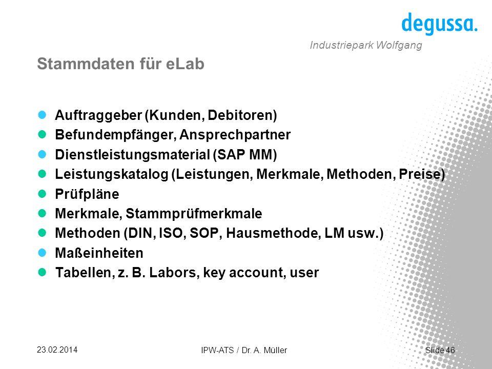 Stammdaten für eLab Auftraggeber (Kunden, Debitoren)