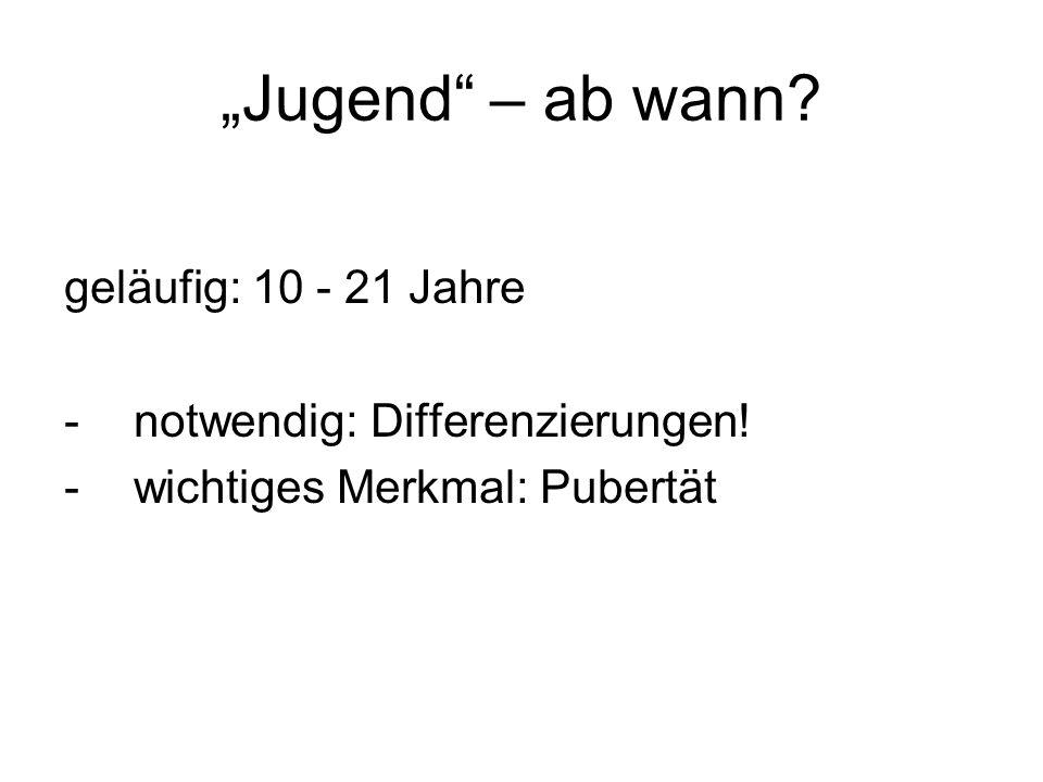 """""""Jugend – ab wann geläufig: 10 - 21 Jahre"""