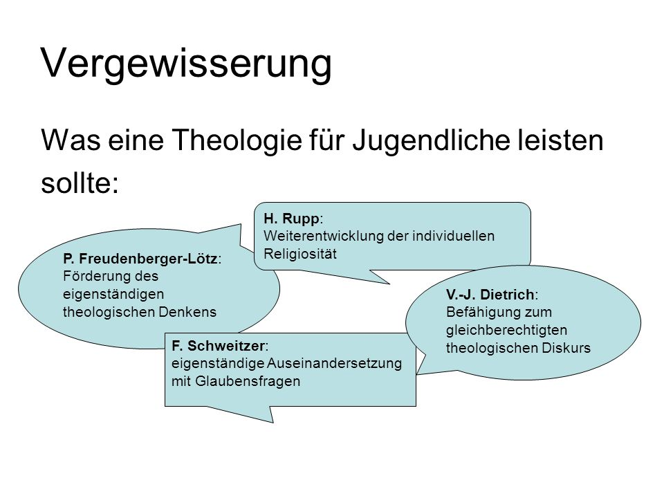 Vergewisserung Was eine Theologie für Jugendliche leisten sollte: