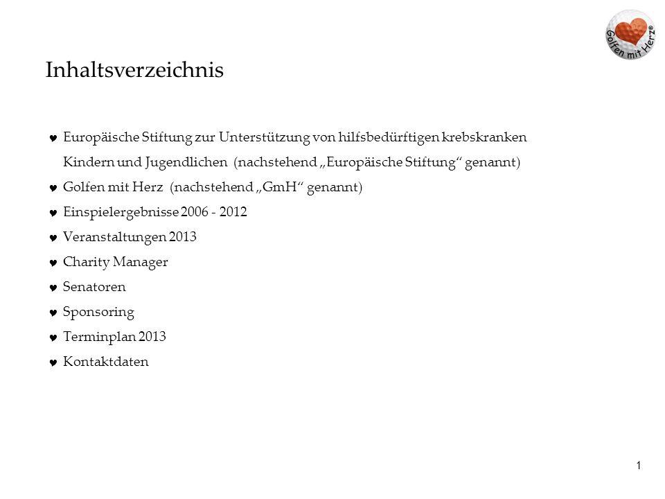 Inhaltsverzeichnis Europäische Stiftung zur Unterstützung von hilfsbedürftigen krebskranken.