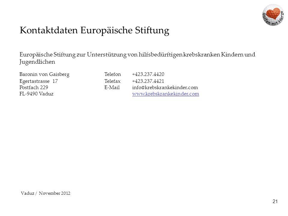 Kontaktdaten Europäische Stiftung