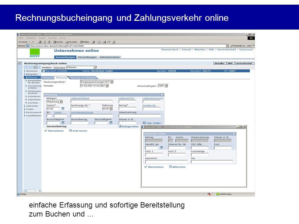 Rechnungsbucheingang und Zahlungsverkehr online
