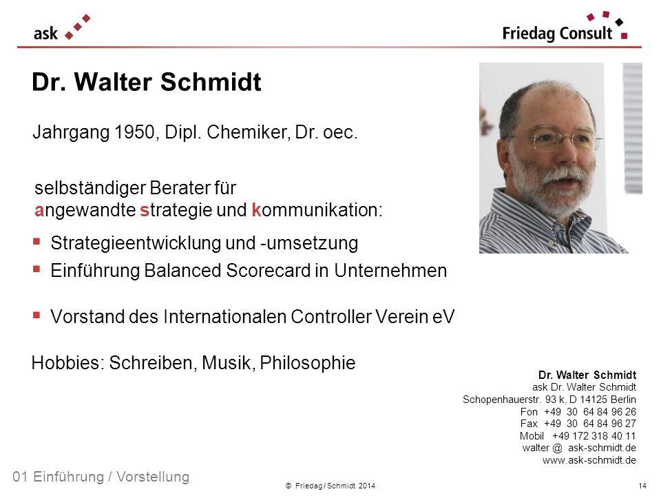 Dr. Walter Schmidt Jahrgang 1950, Dipl. Chemiker, Dr. oec.
