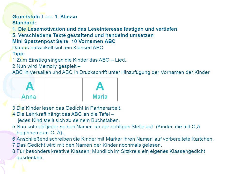 A Anna Maria Grundstufe I ----- 1. Klasse Standard: