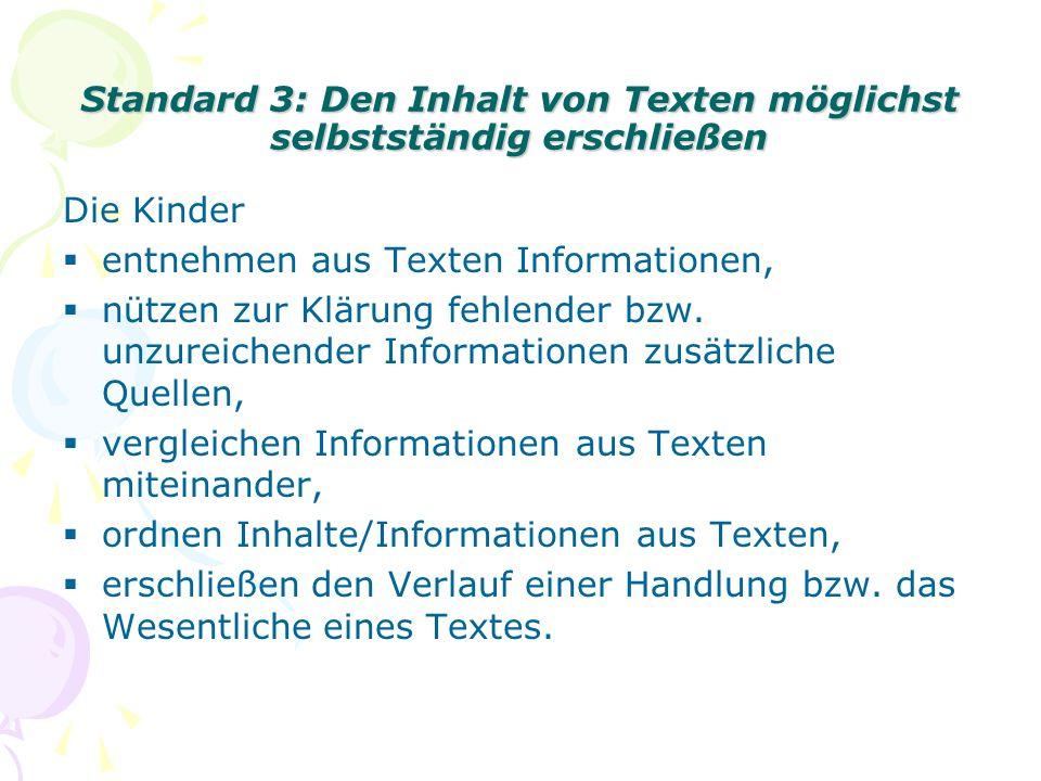 Standard 3: Den Inhalt von Texten möglichst selbstständig erschließen