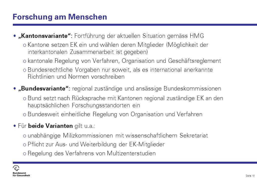 "Forschung am Menschen ""Kantonsvariante : Fortführung der aktuellen Situation gemäss HMG."