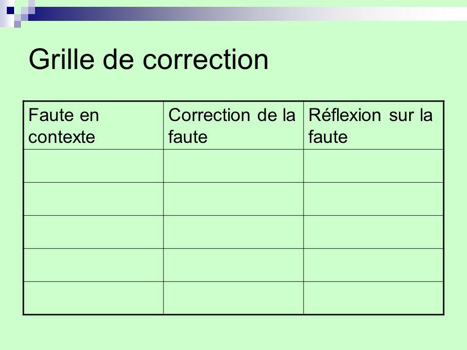 Grille de correction Faute en contexte Correction de la faute