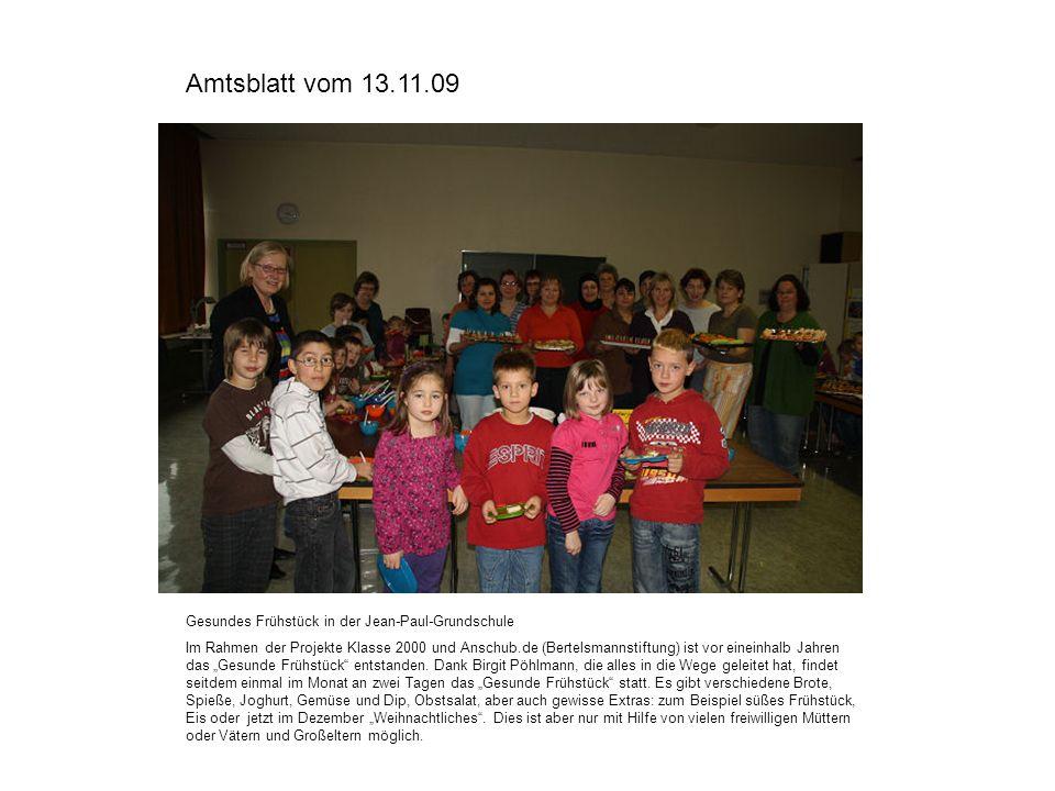 Amtsblatt vom 13.11.09 Gesundes Frühstück in der Jean-Paul-Grundschule