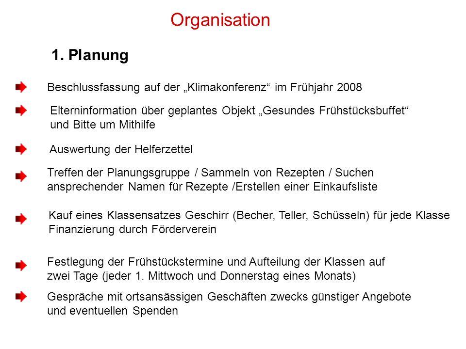 """Organisation 1. Planung. Beschlussfassung auf der """"Klimakonferenz im Frühjahr 2008."""