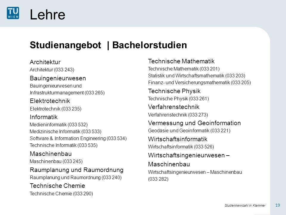 Lehre Studienangebot | Bachelorstudien Architektur