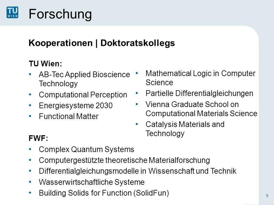 Forschung Kooperationen | Doktoratskollegs TU Wien: