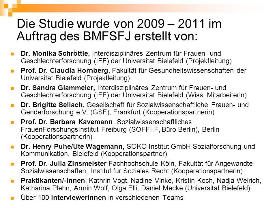Die Studie wurde von 2009 – 2011 im Auftrag des BMFSFJ erstellt von: