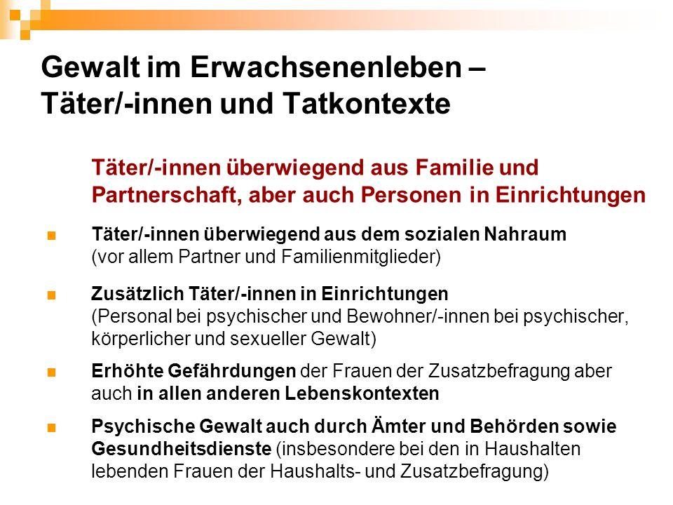 Gewalt im Erwachsenenleben – Täter/-innen und Tatkontexte