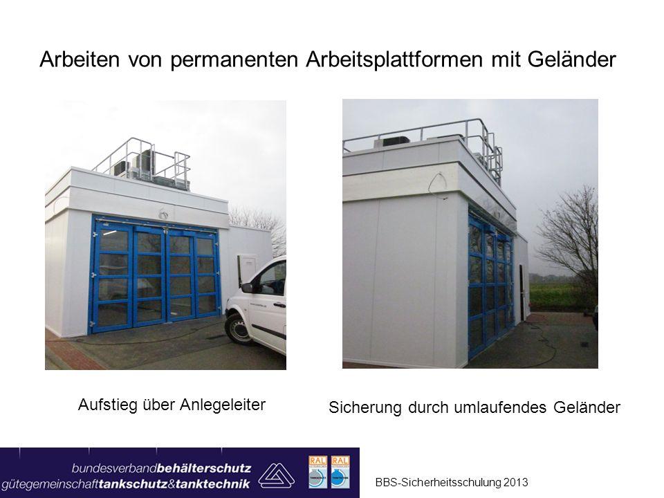 Arbeiten von permanenten Arbeitsplattformen mit Geländer