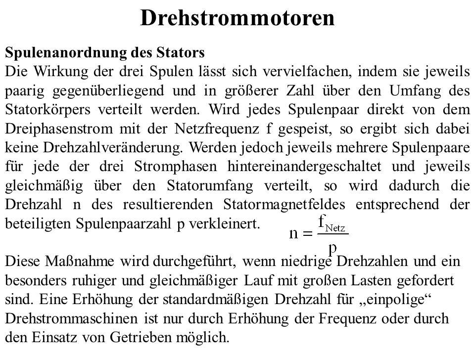 Drehstrommotoren Spulenanordnung des Stators