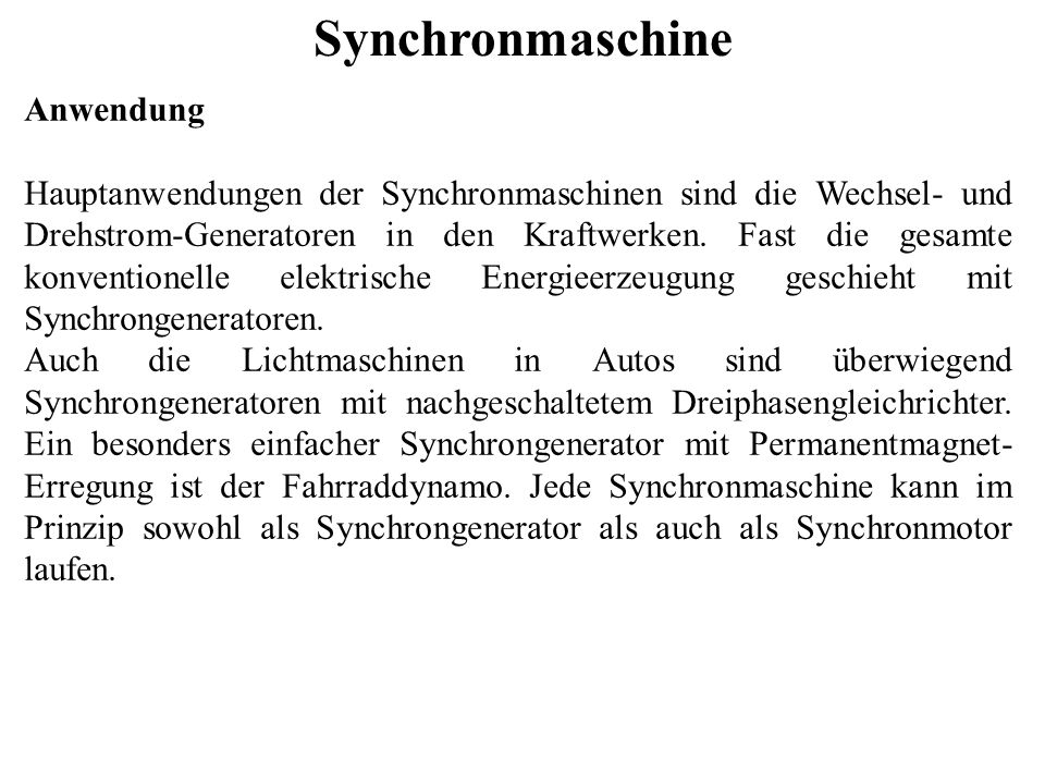 Synchronmaschine Anwendung