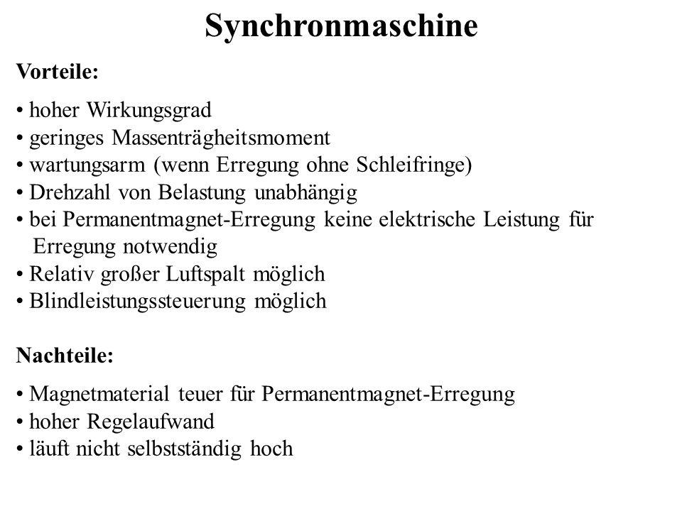 Synchronmaschine Vorteile: hoher Wirkungsgrad