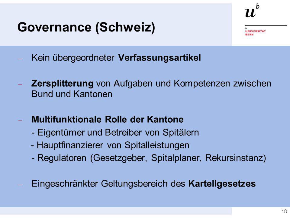 Governance (Schweiz) Kein übergeordneter Verfassungsartikel