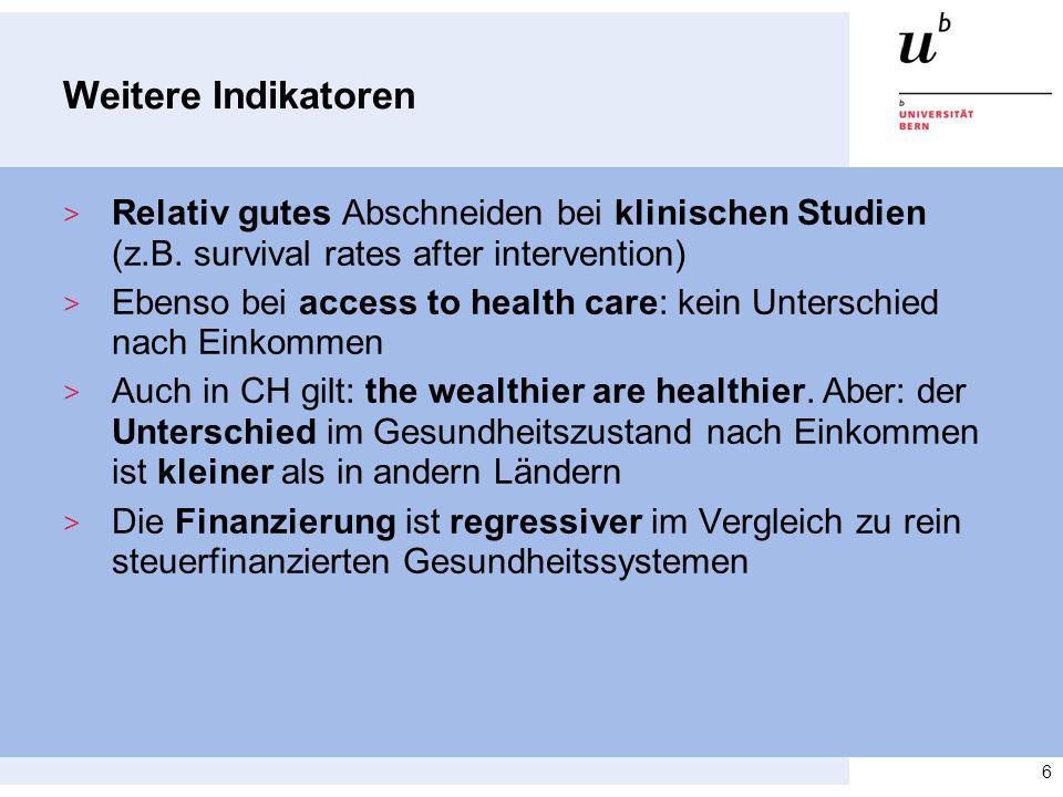 Weitere Indikatoren Relativ gutes Abschneiden bei klinischen Studien (z.B. survival rates after intervention)
