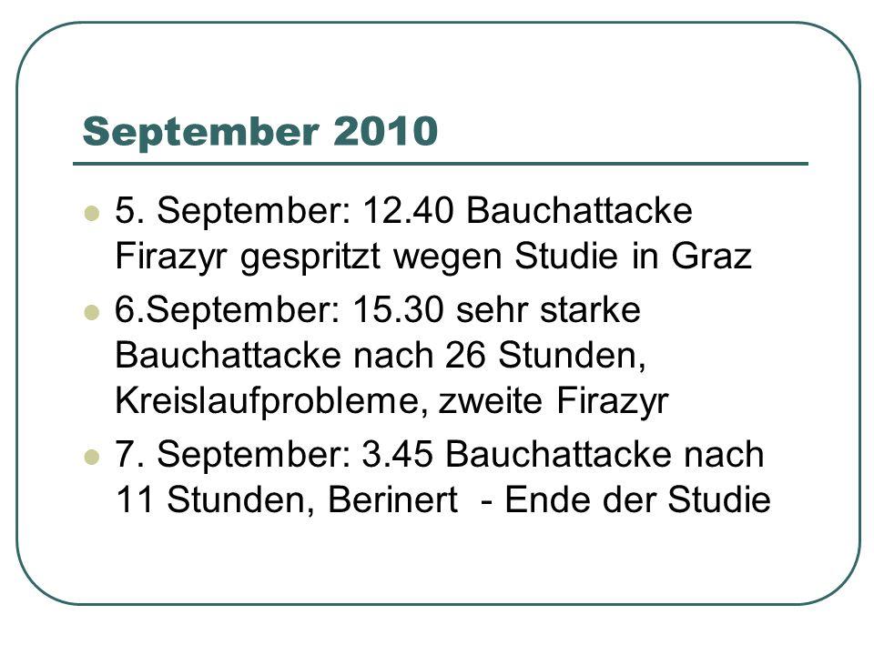 September 2010 5. September: 12.40 Bauchattacke Firazyr gespritzt wegen Studie in Graz.