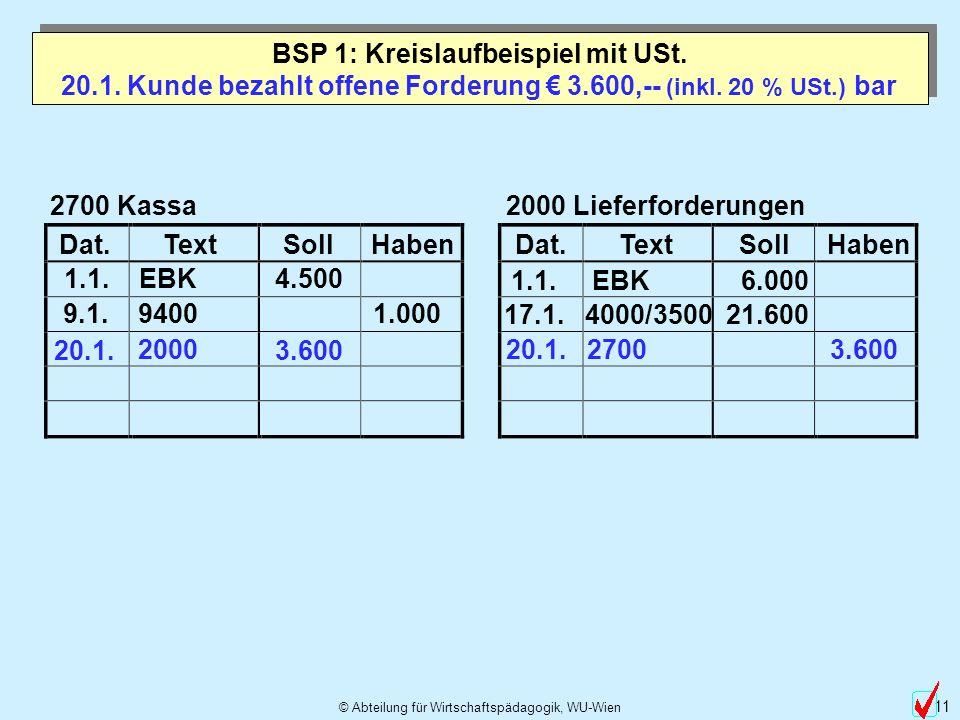 20.1. Kunde bezahlt offene Forderung € 3.600,-- (inkl. 20 % USt.) bar