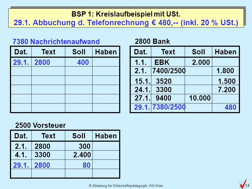 29.1. Abbuchung d. Telefonrechnung € 480,-- (inkl. 20 % USt.)