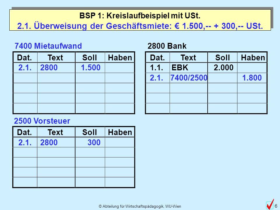 2.1. Überweisung der Geschäftsmiete: € 1.500,-- + 300,-- USt.