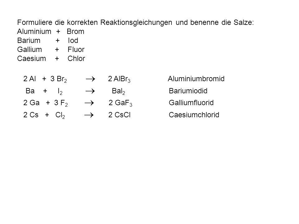 Formuliere die korrekten Reaktionsgleichungen und benenne die Salze: Aluminium + Brom
