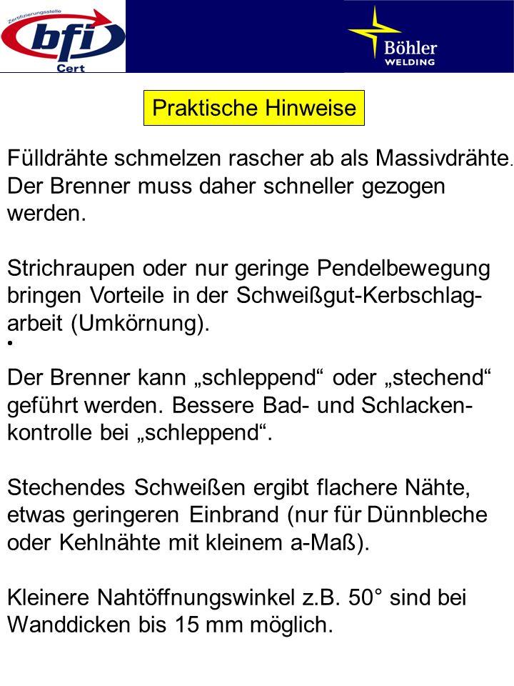Praktische Hinweise Fülldrähte schmelzen rascher ab als Massivdrähte. Der Brenner muss daher schneller gezogen werden.