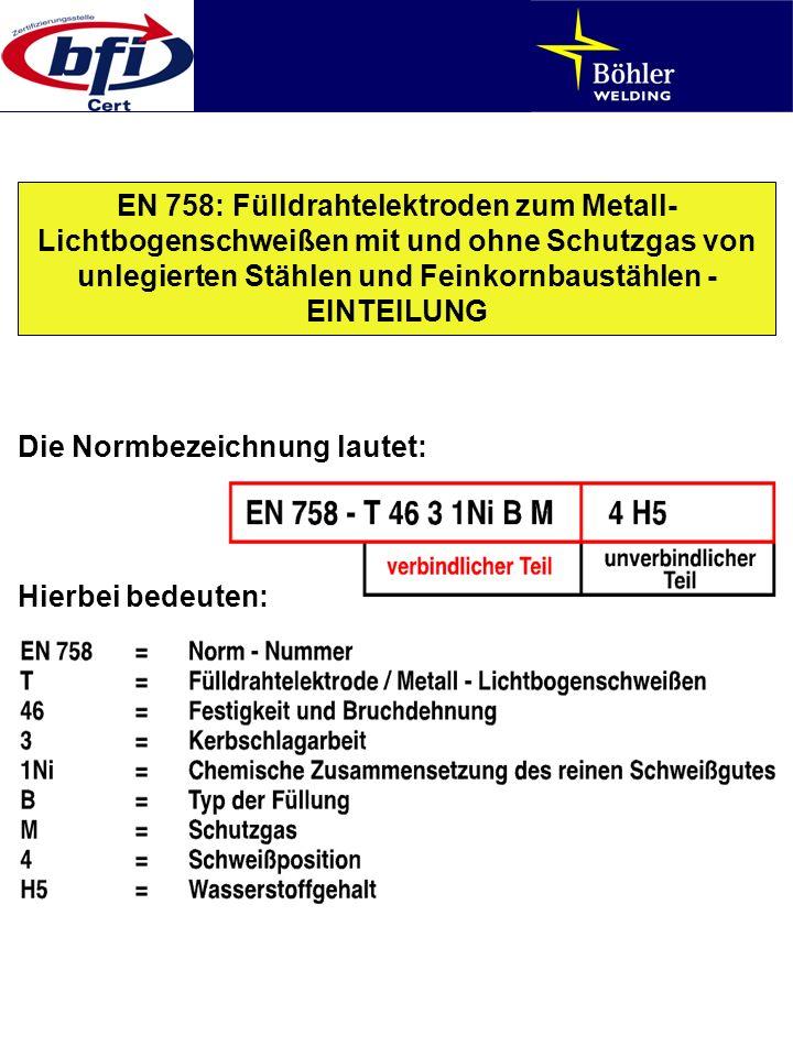 EN 758: Fülldrahtelektroden zum Metall-Lichtbogenschweißen mit und ohne Schutzgas von unlegierten Stählen und Feinkornbaustählen - EINTEILUNG