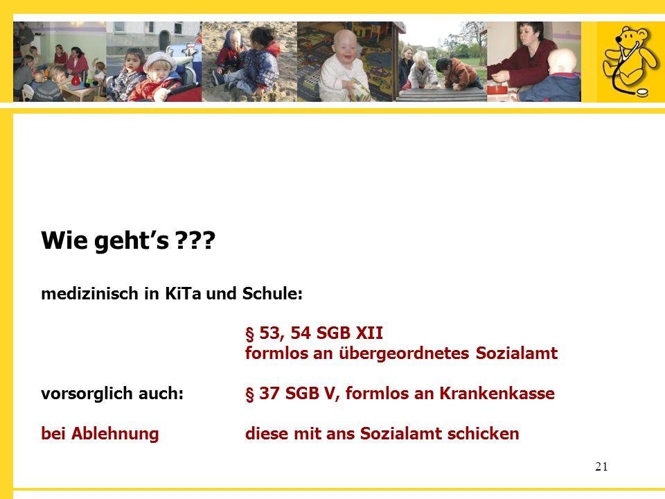 Wie geht's. medizinisch in KiTa und Schule:. § 53, 54 SGB XII