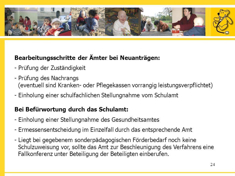 Bearbeitungsschritte der Ämter bei Neuanträgen: - Prüfung der Zuständigkeit - Prüfung des Nachrangs (eventuell sind Kranken- oder Pflegekassen vorrangig leistungsverpflichtet) - Einholung einer schulfachlichen Stellungnahme vom Schulamt Bei Befürwortung durch das Schulamt: - Einholung einer Stellungnahme des Gesundheitsamtes - Ermessensentscheidung im Einzelfall durch das entsprechende Amt - Liegt bei gegebenem sonderpädagogischen Förderbedarf noch keine Schulzuweisung vor, sollte das Amt zur Beschleunigung des Verfahrens eine Fallkonferenz unter Beteiligung der Beteiligten einberufen.