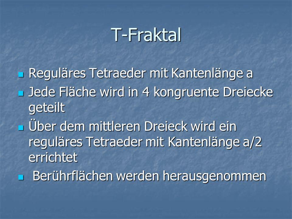 T-Fraktal Reguläres Tetraeder mit Kantenlänge a