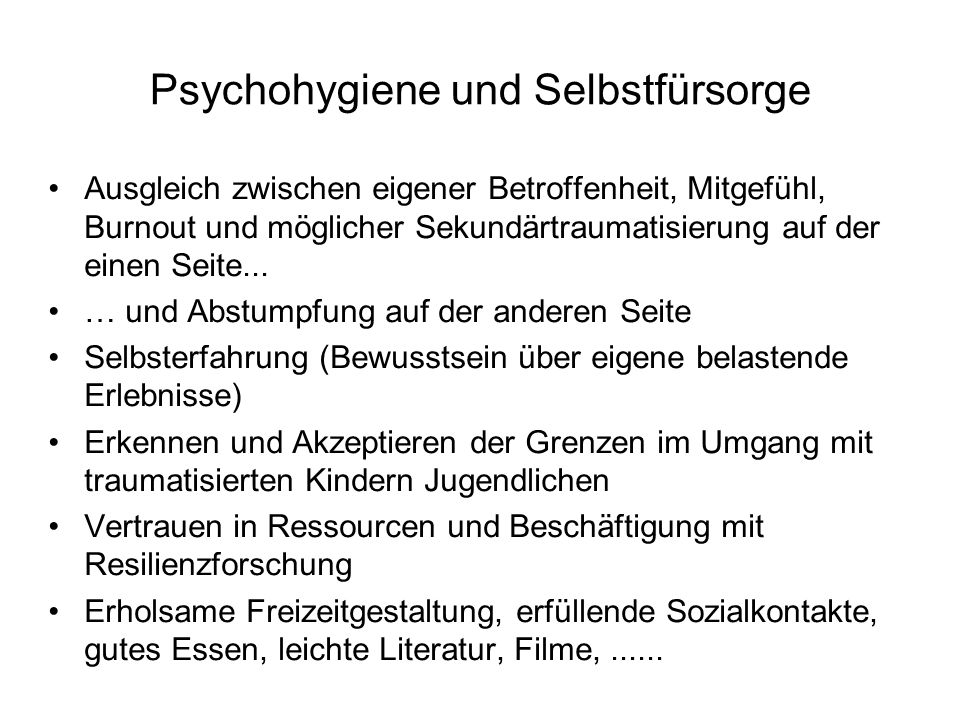 Psychohygiene und Selbstfürsorge