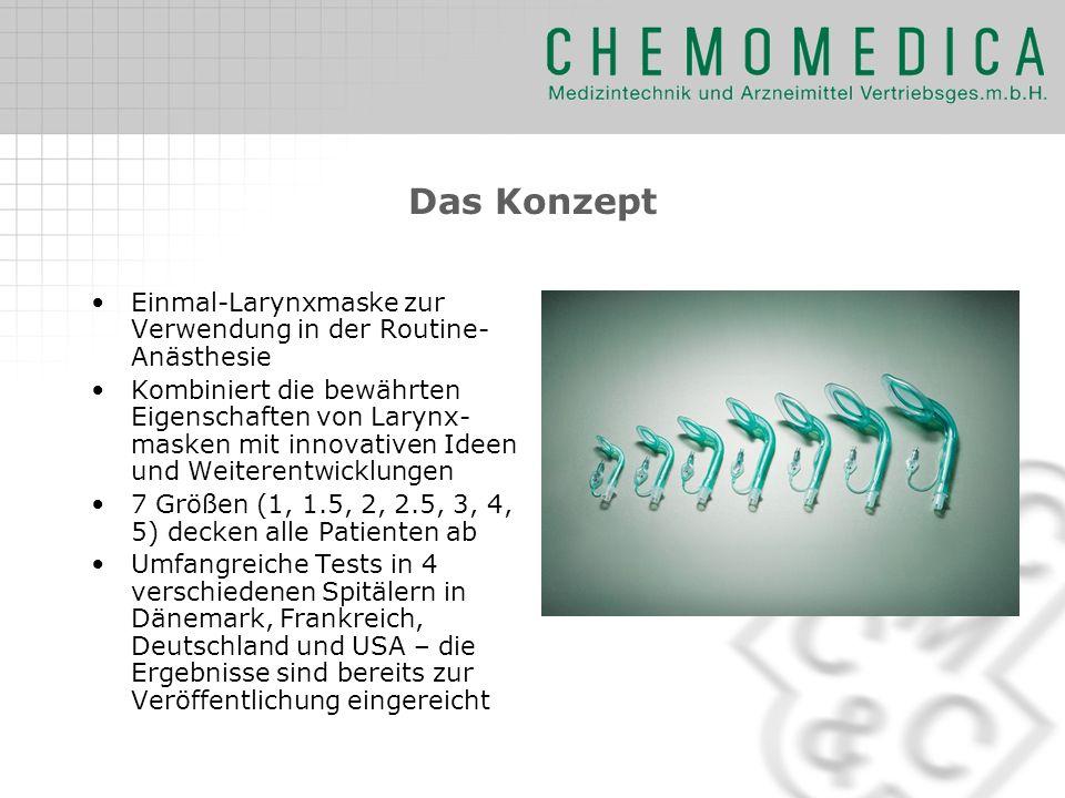 Das Konzept Einmal-Larynxmaske zur Verwendung in der Routine-Anästhesie.